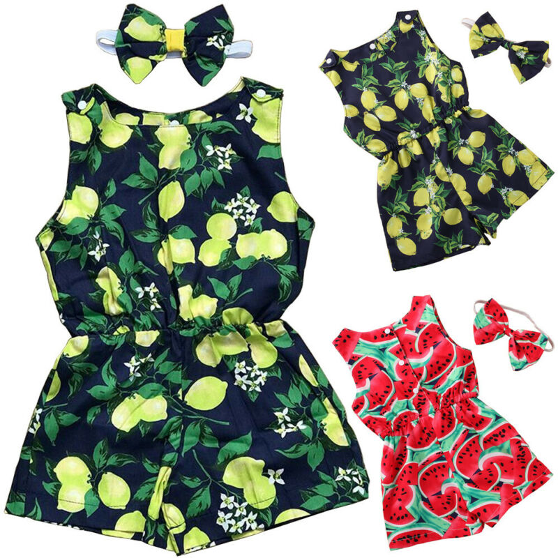 Fruit Print Newborn Baby Girl 2pcs Summer Clothes Tops Cute Dress Boho Shorts Pants Outfits Set