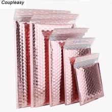 50 sztuk/partia różowe złoto plastikowe koperty bąbelkowe torby, wyściełane koperty wysyłkowe, wodoodporne torby bąbelkowe