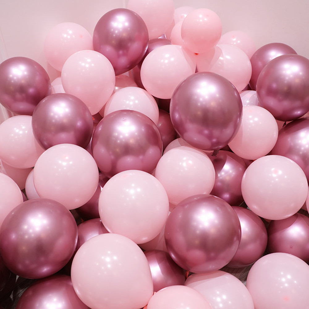 12pcs/lot Pink Latex Balloon Gold Silver Chrome Metallic Wedding Bridal Shower Theme  Air Helium Decor Balloons Party Globos