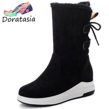 DORATASIA New Hot Sale Platform Fur Boots Ladies Winter Warm mid-calf Snow Boots Women 2019 Casual Low Heel Wedges Shoes Woman