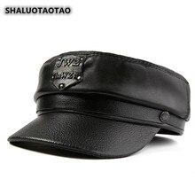 SHALUOTAOTAO Trend Genuine Leather Hat Autumn Winter Fashion Sheepskin Leather Military Hats For Men Women Brands Snapback Cap цена