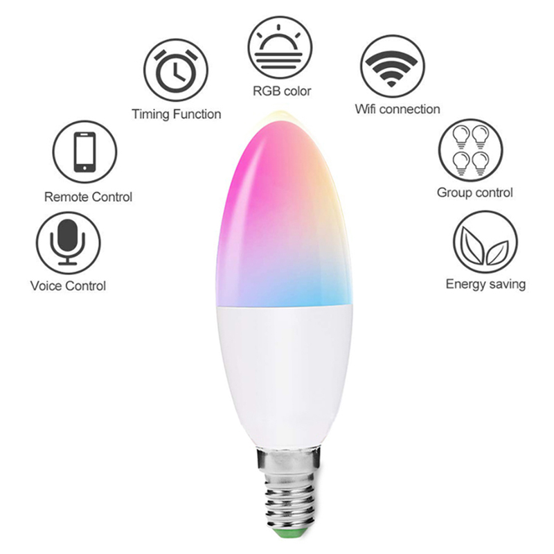 6W Color Changing Bulb Work with Alexa Google Home Size : E27 Smart WiFi LED Light Bulbs E12 Candelabra Dimmable RGB Candle Light Bulb Decorative