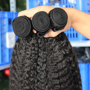 Kinky Straight Hair Bundles With Closure Brazilian Hair Weave Bundles Coarse Yaki Natural Color 100% Human Hair Extensions Remy