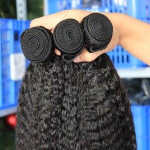 Image 3 - Perwersyjne pasma prostych włosów z zamknięciem brazylijskie włosy wyplata zestawy gruba Yaki Natural Color 100% doczepy z ludzkich włosów Remy