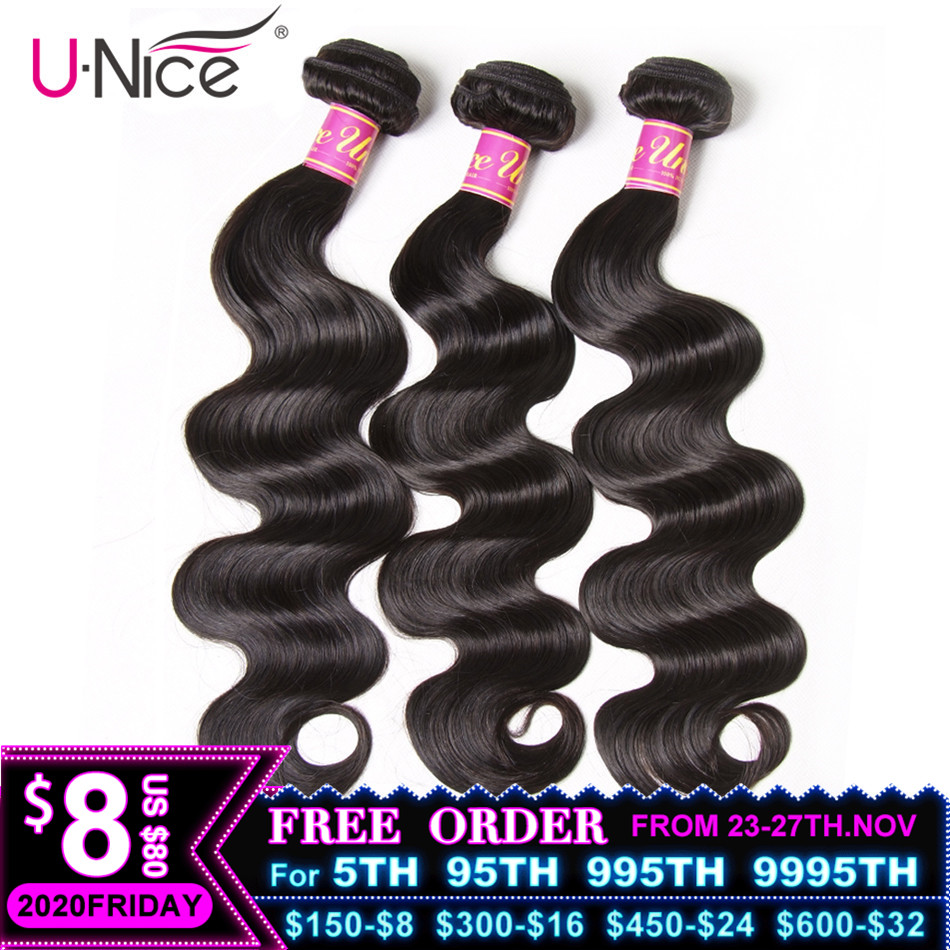 UNICE HAIR Hair-Extensions Weave Body-Wave Remy Natural-Color Brazilian 100%Human-Hair