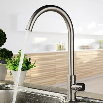 Kitchen Faucets Stainless Steel Single Handle Single Hole Faucet Mixer Sink Tap 360 Rotate Smooth Water Mixer Taps Faucet