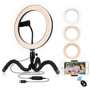 9 inch Ring Light with Flexible Tripod Stand Phone Holder Dimmable Selfie Light Wireless Remote for YouTube/Photography/Makeup(China)