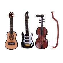 1 pçs estatuetas 1/12 escala dollhouse instrumento de violino guitarra em miniatura peça diy para decoração casa presente dos miúdos