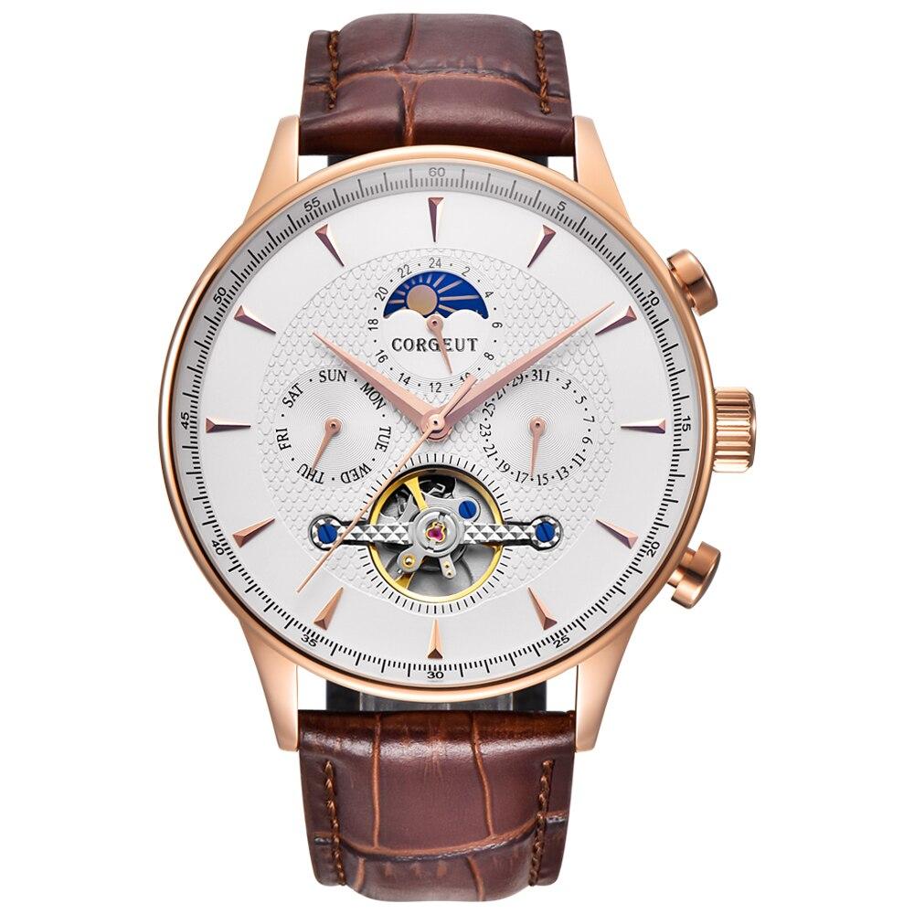 Corgeut esqueleto mecânico automático relógio masculino esporte topo marca de luxo lua fase relógios ouro rosa couro hombre pulso relógios - 6