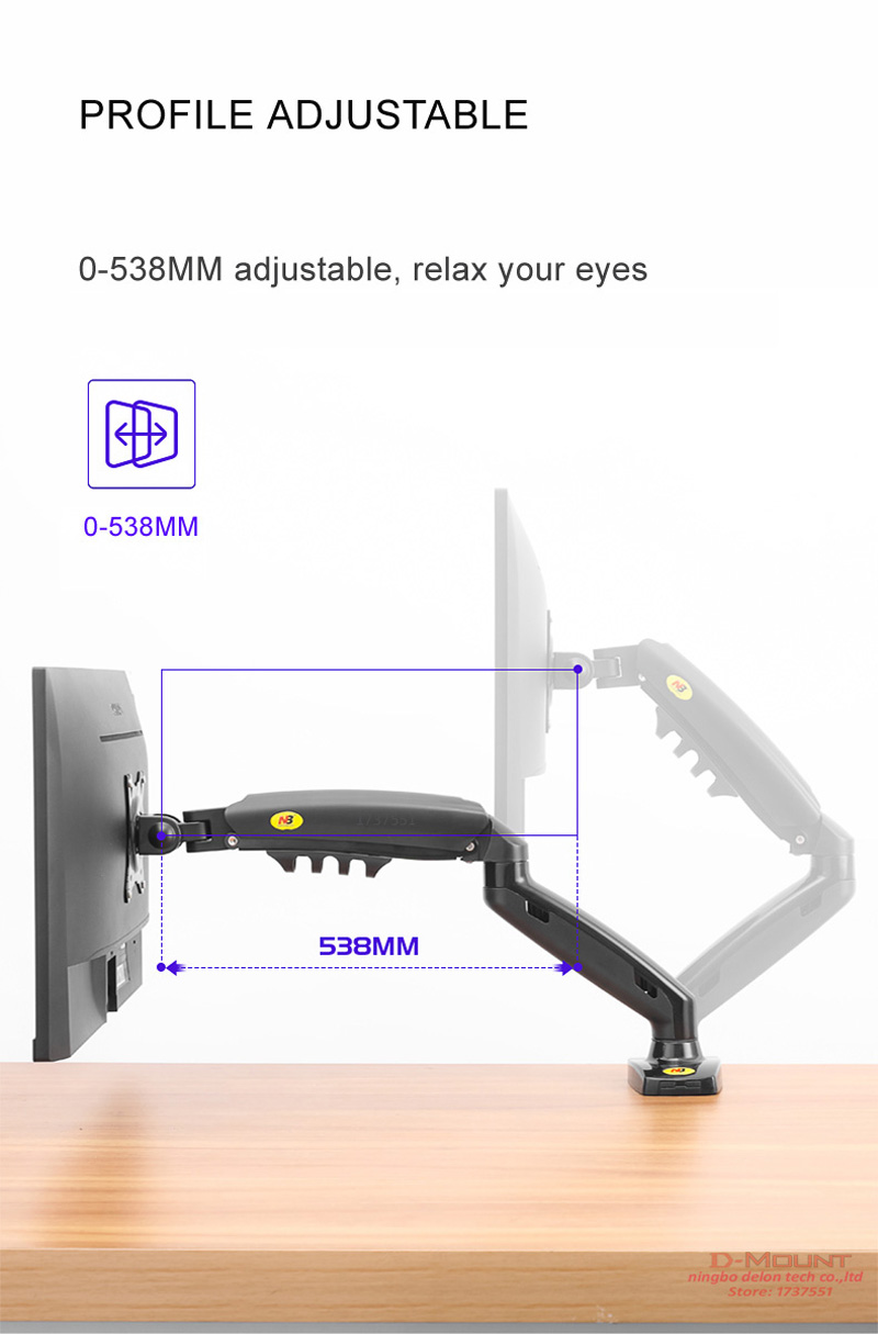 "Image 5 - NB NEW F80 10 27"" 2 9kg dual arm air press gas spring vesa 100x100 monitor desk mount stand clamp grommet base PC desk holdertv table mountlcd tv tablemount tv stand - AliExpress"
