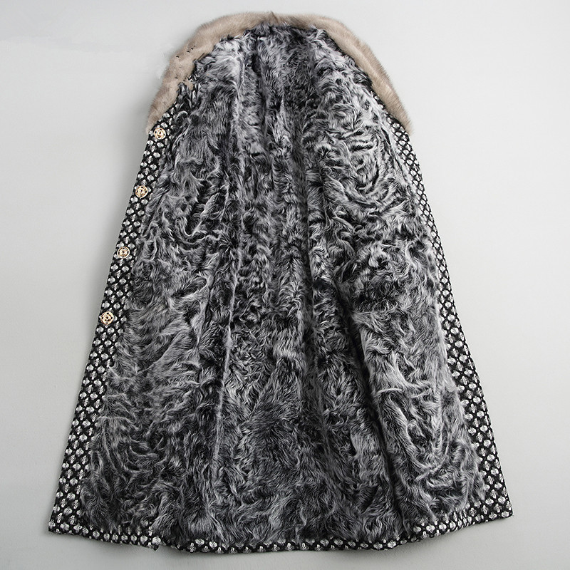 Luxury Lamb Fur Coat Female Mink Fur Collar Tweed Coat Winter Jacket Women Clothes 2020 Woolen Coats Warm Long Jacket MY