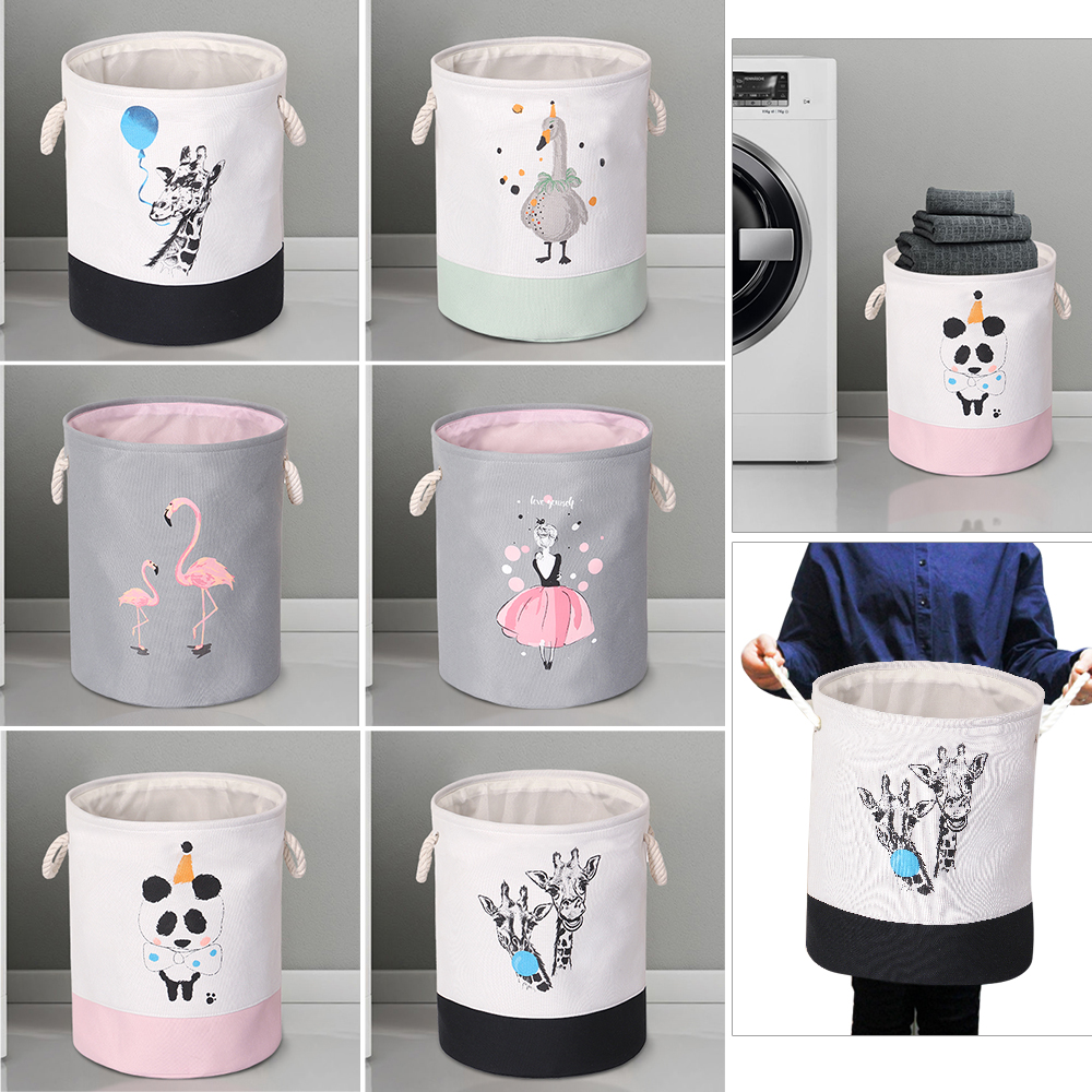 EVA Canvas Fabric Round Collapsible Laundry Basket Dirty Clothes Organizer Toys Storage Box Bin Bucket Hamper With Handles