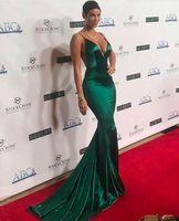 Sexy Long Green Satin Mermaid Celebrity Inspiration Dresses Spaghetti Criss Cross Back Floor Length Pleated Formal Party Dresses