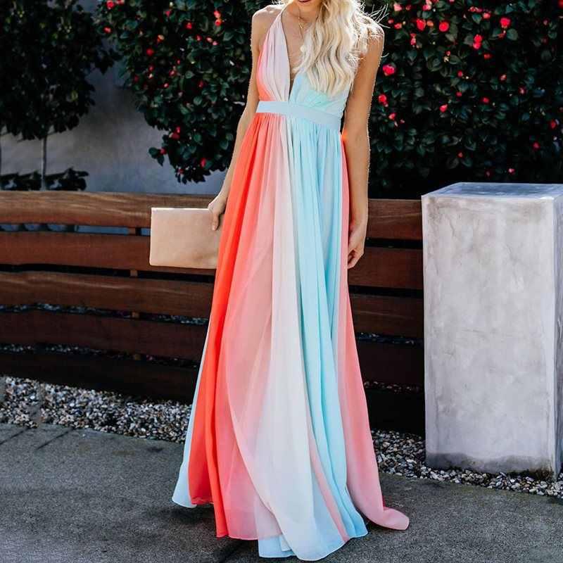 Кружевное градиентное Макси-платье для женщин с открытой спиной, длинное платье 2019, сексуальные летние вечерние богемные пляжные платья Vestidos