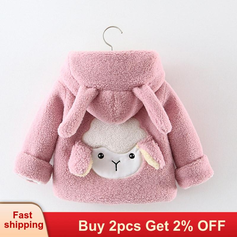Coats Jacket Sheep Girls Winter Children Outerwear Fleece Cute Thick Warm Cartoon  title=