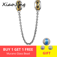 XiaoJing Safety chain Silver 925 Beads with gold love Fit Original Pandora Charm Bracelet fashion diy jewelry making for gift geoki 925 sterling silver rose gold white cubic zirconia clover silicone safety chain fit original pandora bracelet leaf charm