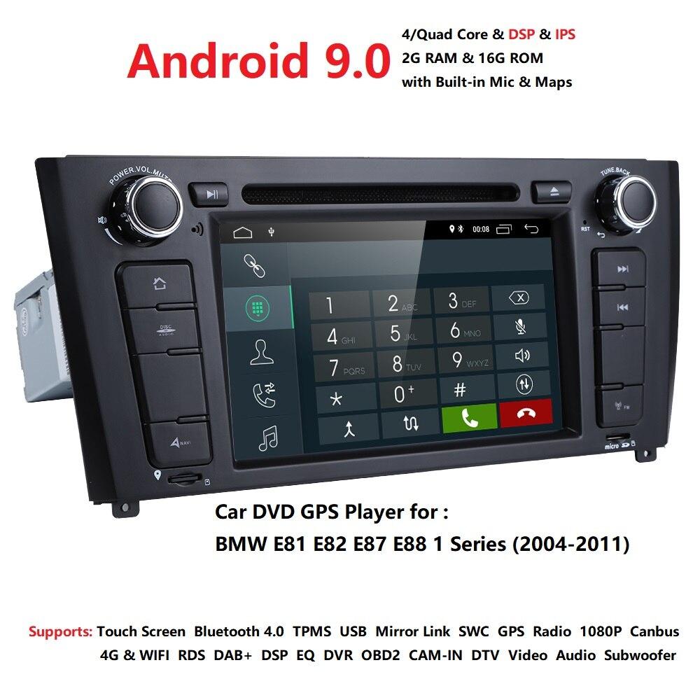 64GB 4G LTE Android9.0 Quad Core autoradio DVD GPS Navigation stéréo pour BMW E88 1 série E87 2004-2011 RAM 2GB HD 1024*60 OBD2