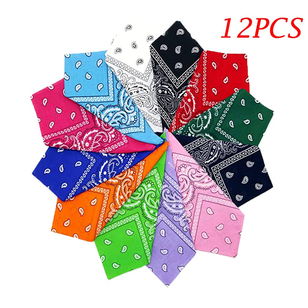 12PC Scarf Women Dozen Paisley Bandanas Multi Colored Set Cowboy Bandanna Head Scarf Double Sided Protection Scarf Men 2020