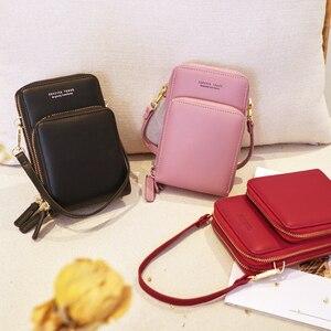 Image 4 - Sac à bandoulière étanche à fermeture éclair pour femmes, sac pour téléphone pochette en cuir synthétique polyuréthane solide, sac pour cartes, portefeuille, rangement de 3 couches pour Sport en plein air