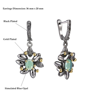 Image 4 - DreamCarnival1989 Vintage Flower Rings + Earrings Women Wedding Party Simulated Blue Opal Stone Black Gothic Jewelry  ER3890S2