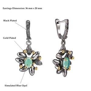 Image 4 - DreamCarnival1989 винтажные кольца с цветами + серьги для женщин для свадебной вечеринки имитация синего опала камень черный готический ювелирные изделия ER3890S2