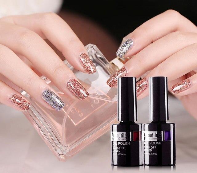Beautilux Glitter Gel Nail Polish Kit Winter Gloss Bling Sparkling Sequins Nail Lacquer UV LED Nails Art Varnish 6pcs/set 10ml