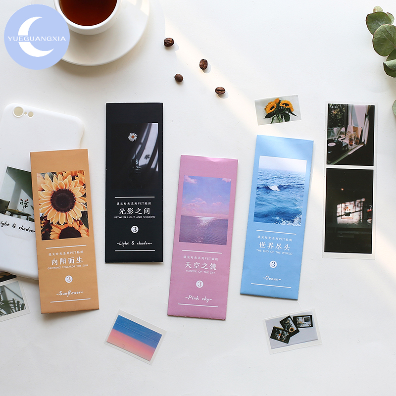 YueGuangXia Sunflower Pink Sky Shadow Stickers Stationery Page Flag Creative Bullet Journal Scrapbooking Deco Stickers 3pcs/pack