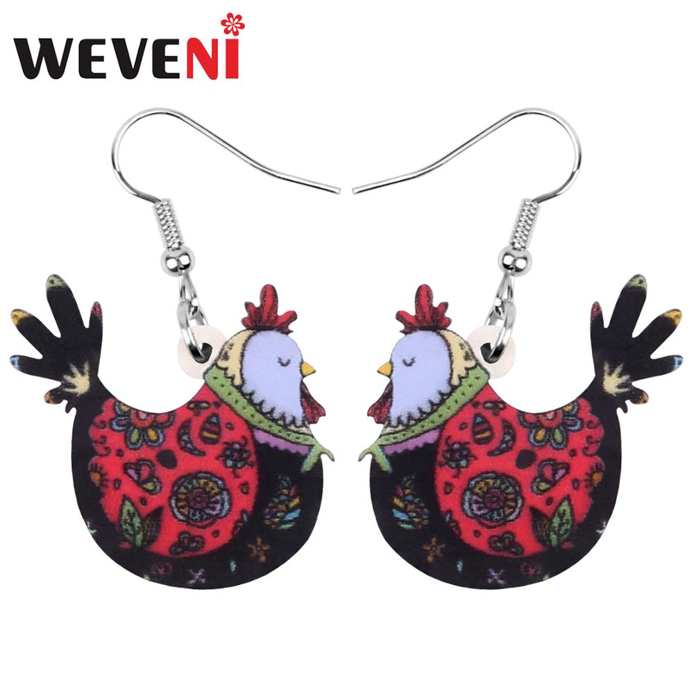 WEVENI Acrylic Anime Floral Hen Chicken Earrings Farm Animal Drop Dangle Jewelry For Women Girl Teens Charms Hot Sales Gift Bulk(China)