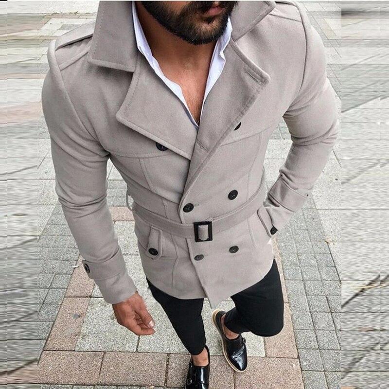 Adisputent Mens Trench Coat 2020 Mens Mid Length Coat Slim Casual Coat Men Solid Adjustable Waist Male Trench Street Wear Winter