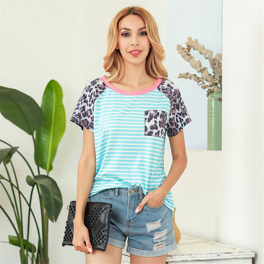 Summer T Shirt Hot Sale Short Sleeve Women Striped Tops Tee 2020 New Casual T-shirt Female Large Size Top With Pocket