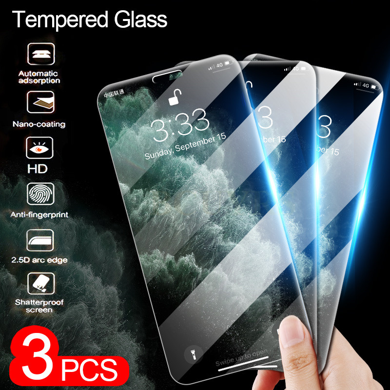 3Pcs Tempered Glass For IPhone 11 7 8 6 6s Plus X XR XS Screen Protector On The For IPhone XR XS 11 Pro Max Protecive Glass Film