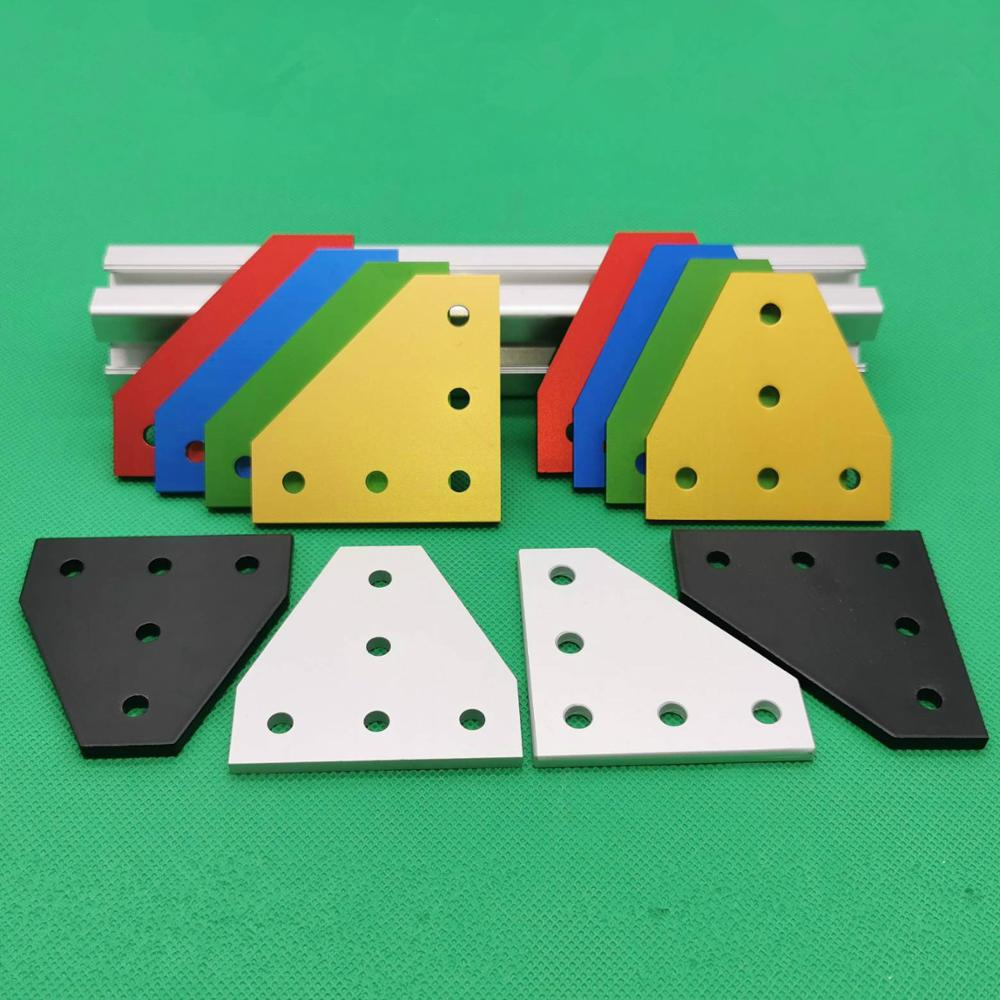 Multi Color 90 Degree Joint Plate Aluminum Corner Angle Bracket Connection Joint Strip With 5 Holes For Profile 2020 Series