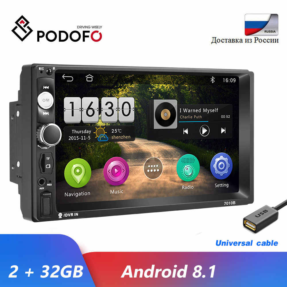 "Podofo Android 8,1 2 Din auto radio Multimedia reproductor de Video 2 Din 7 ""Enlace espejo Bluetooth USB FM SD 2Din Autoradio ESTÉREO"