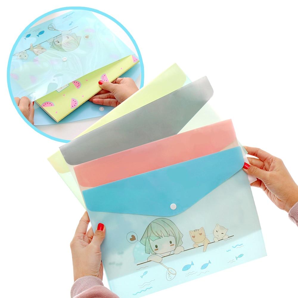 Korean Paper Bags A4 PVC Cute Cartoon Animals Meng Was A Semi-permeable Paper Bag Student Folders