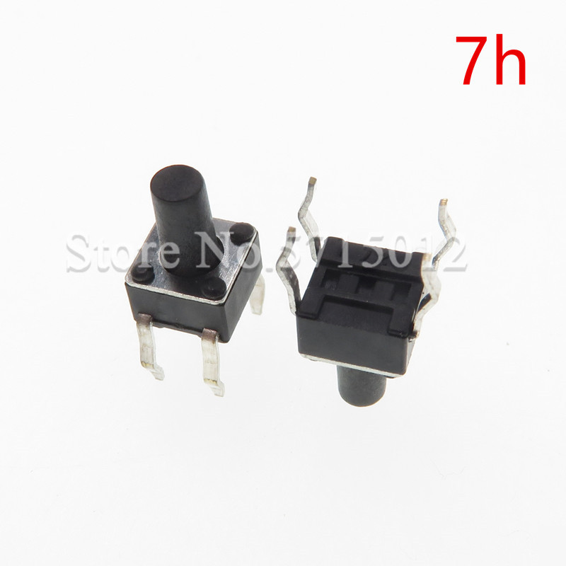 200pcs 4.5*4.5*7mm 4pin DIP Black Micro Push Button Tactile Tact Momentary Electronic Switch touch switches