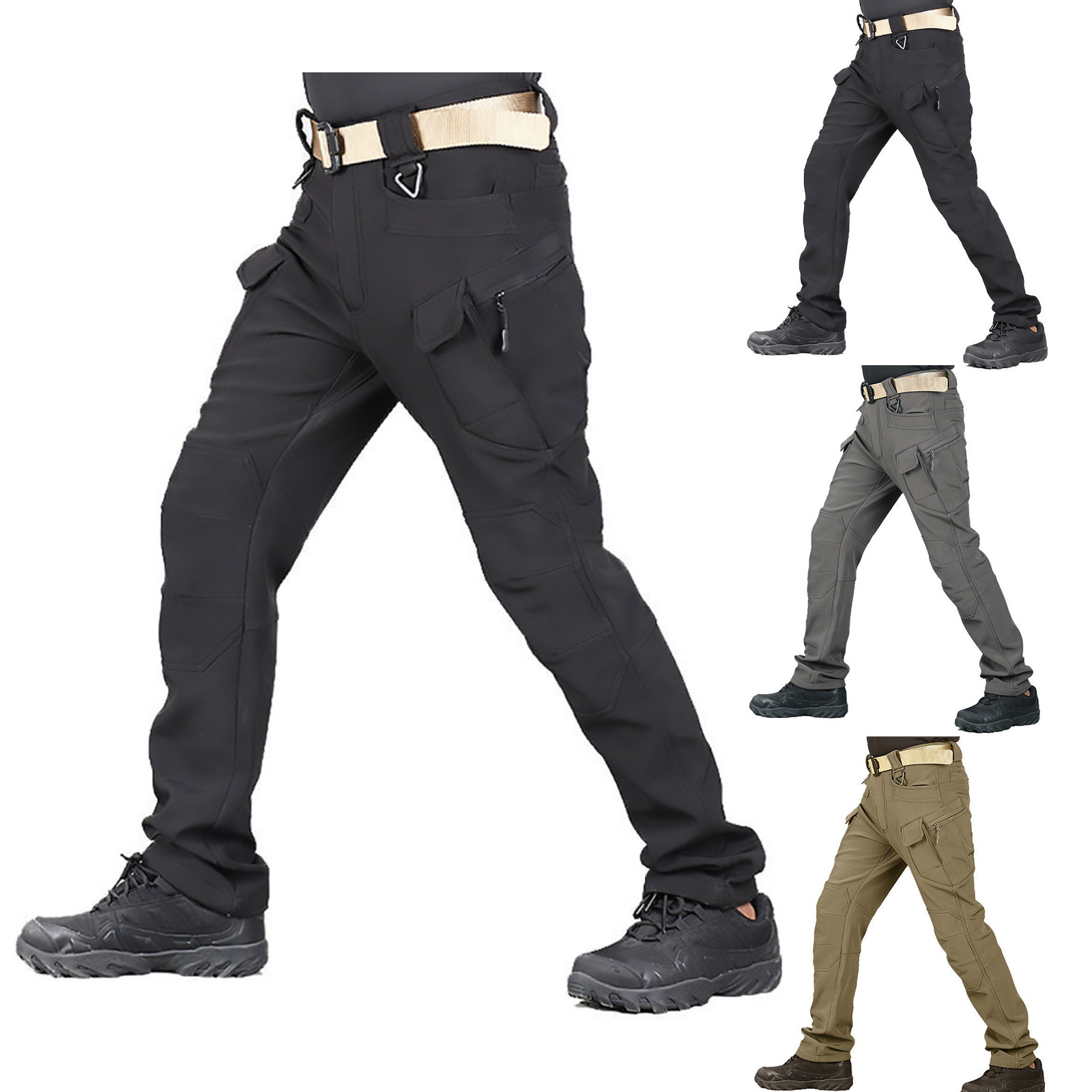 2021 Men New Tactical Army Combat Military Camp Fish Hike Trek Climb Outdoor softshell waterproof pants Ski Trousers Fleece
