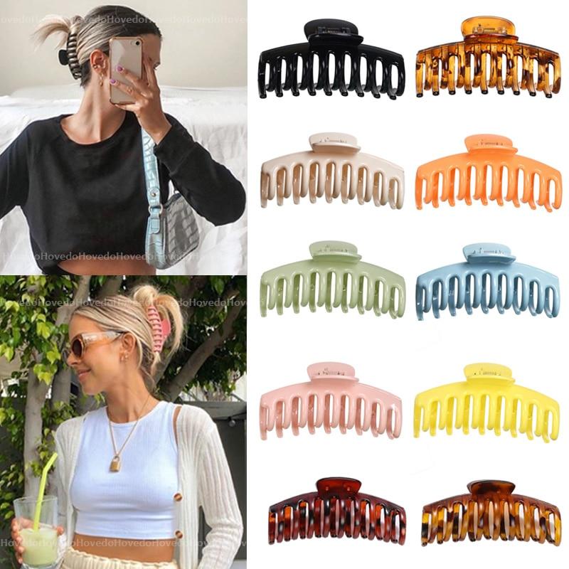 Hot Sale Solid Color Claw Clip Large Barrette Crab Hair Claws Bath Clip Ponytail Clip