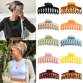 Hot Sale Solid Color Claw Clip Large Barrette Crab Hair Claws Bath Clip Ponytail Clip For Women Girls Hair Accessories Gift 1