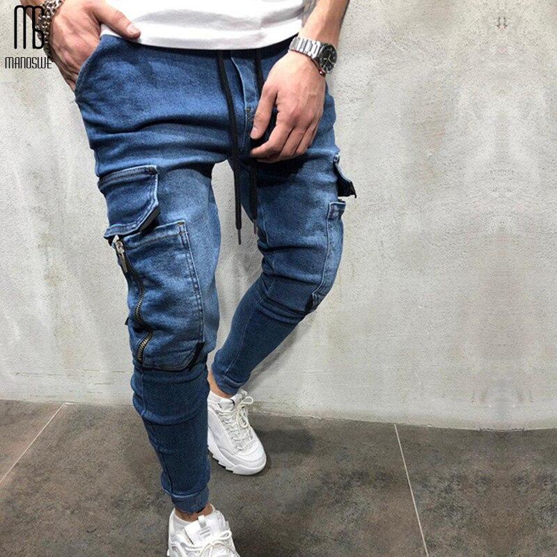 Manoswe Retro Nostalgia Pocket Skinny Biker Jeans 2019 High Quality Stretchy Hip Hop Jeans Street Style Pants Trousers Denim