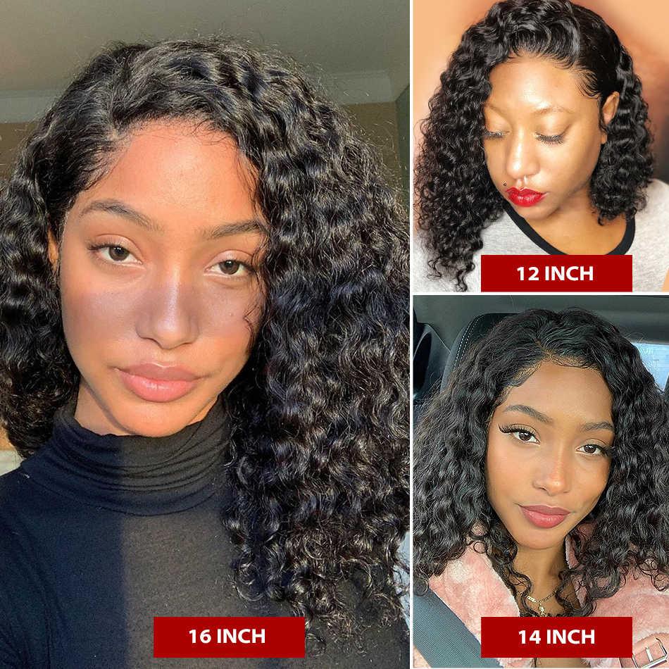 Бразильские волосы 4x4 закрытие глубокая волна парик бразильский волос глубокая волна вьющиеся парики предварительно вырезанные детскими волосами 13x4 Синтетические волосы на кружеве парики из натуральных волос
