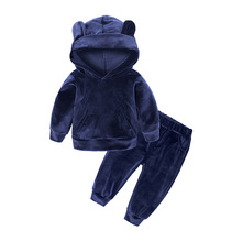 New Velvet Children's Hooded Solid Color Sweater Two-piece Boy and Girl Sportswear Suit стоимость