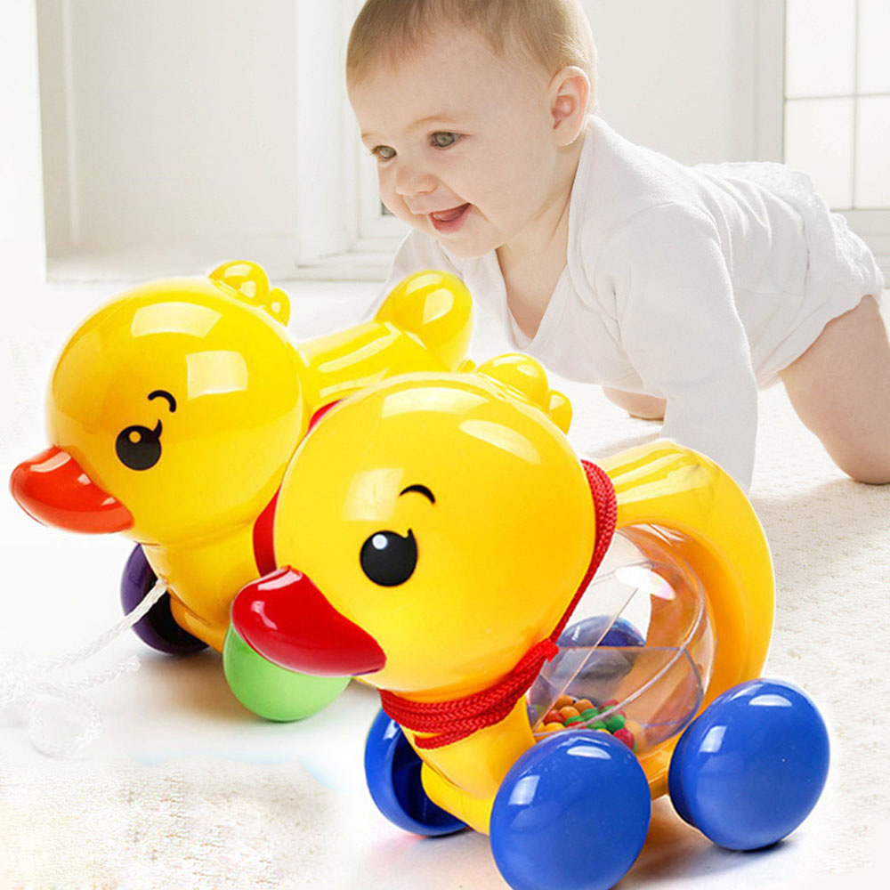 Baby Rattles Pull Rope Duck Animal Hand Shaking Bell Car Baby Educational Learn Walking Toy Rattles Toys Music Handbell For Kids