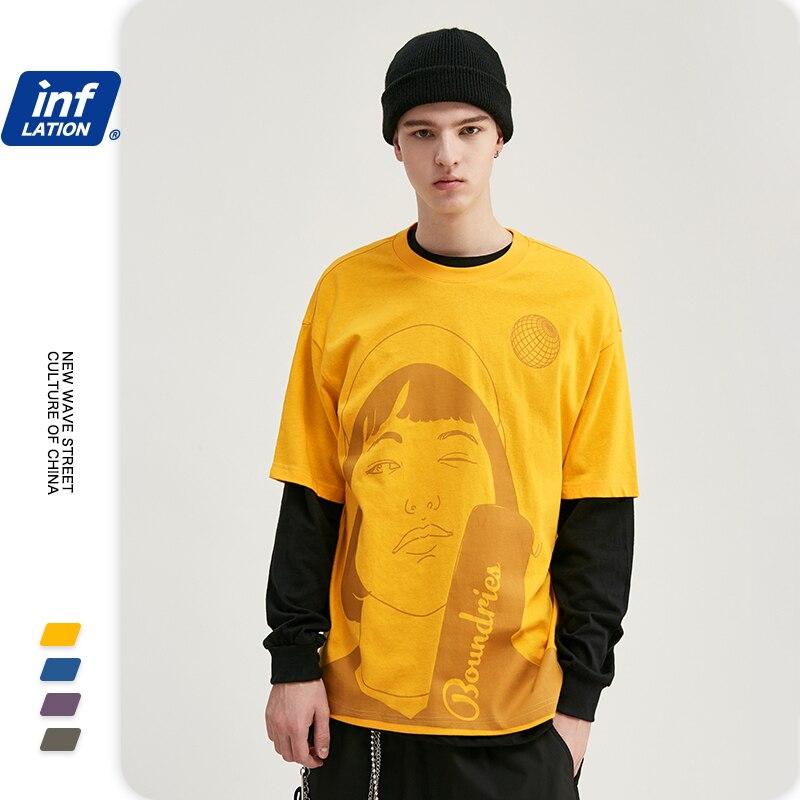 INFLATION Streetwear Men Tshirt Cotton O-neck T Shirt Short Sleeve Hip Hop Men T Shirt Unisex Novelty Oversized T Shirt 1082S20
