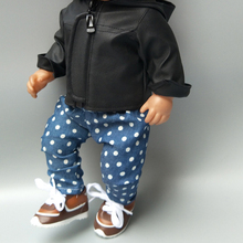 doll clothes pants for 43cm Baby coat pu leather set 17 inch baby black jacket winter