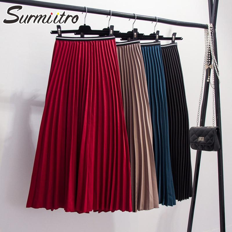 Surmiitro Long Pleated Skirt Women For Autumn Winter 2019 Fashion Korean Style Lady High Waist Red Blue Black Maxi Skirt Female