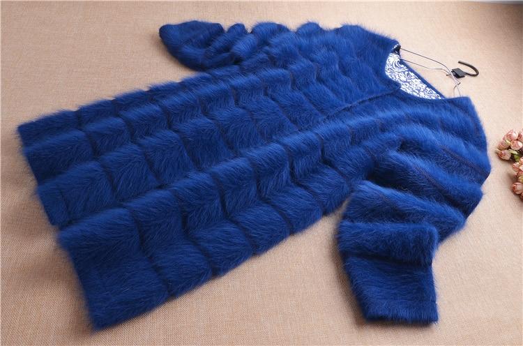 Image 4 - Top mujer women thick warm medium long stripes angora rabbit fur  knitted cardigan long sleeves sweater mink cashmere coat  winterCardigans