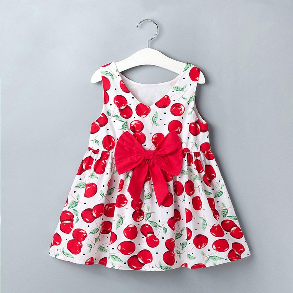 Summer Dress 2020 New Girls Clothes Toddler Baby Kids Girls V Neck Sleeveless Print Bowknot Cute Summer Dress