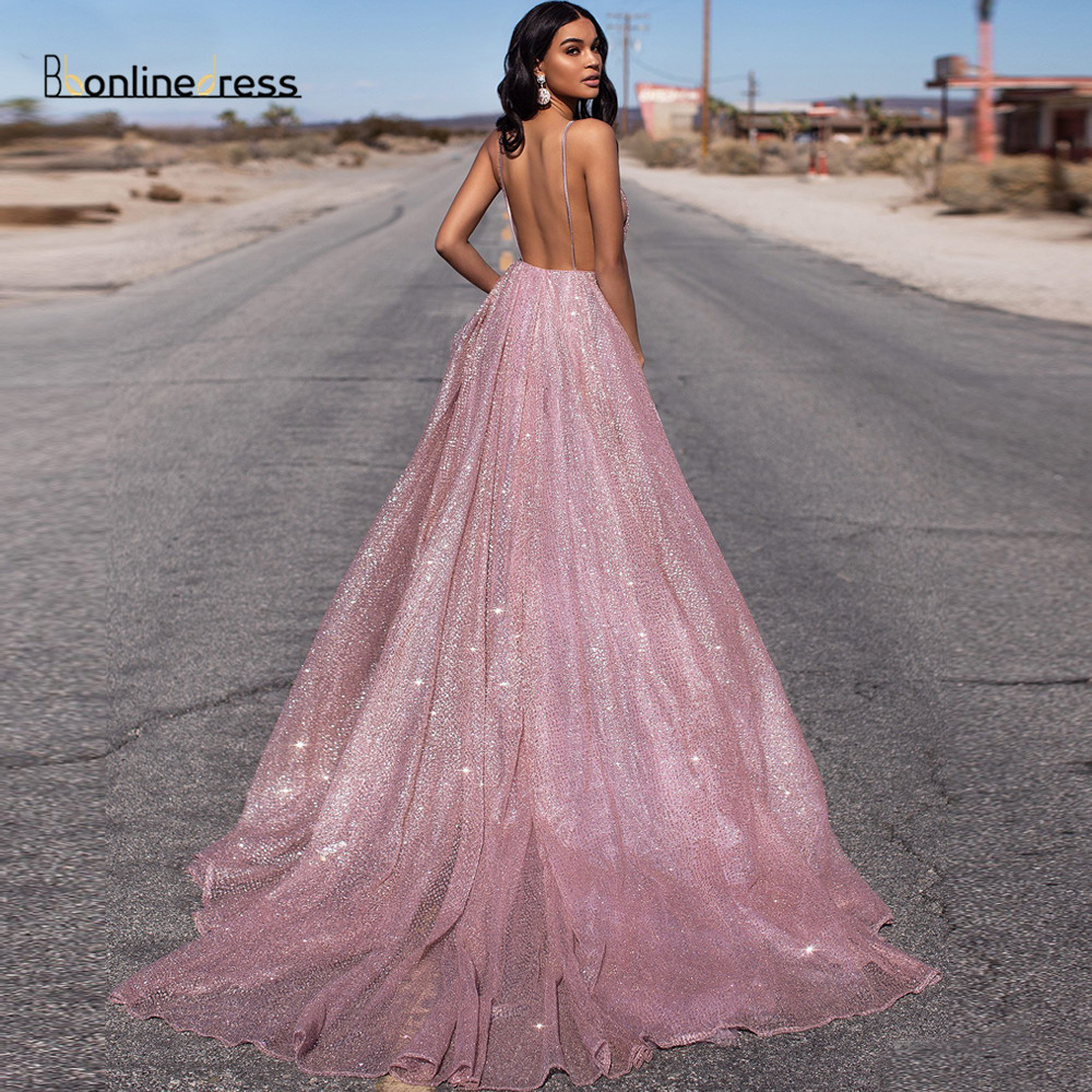 Sparkly Pink Prom Dress Sequined Long Prom Dresses Spaghetti Strap Backless Floor Length Formal Party Gowns Vestido-de-festa