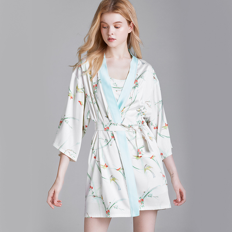JULY'S SONG 3 Pieces Faux Silk Satin Pajamas Set 2020 New Summer Women Sleepwear Ladies Nightgown Strap Sleeveless Shorts