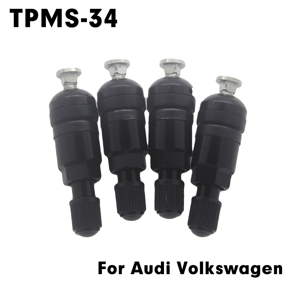 TPMS-34 Tire Valves For Audi Volkswagen Porsche BMW black Aluminum Car Valve Stem Tire Sensor Kit Tire pressure sensor Valves